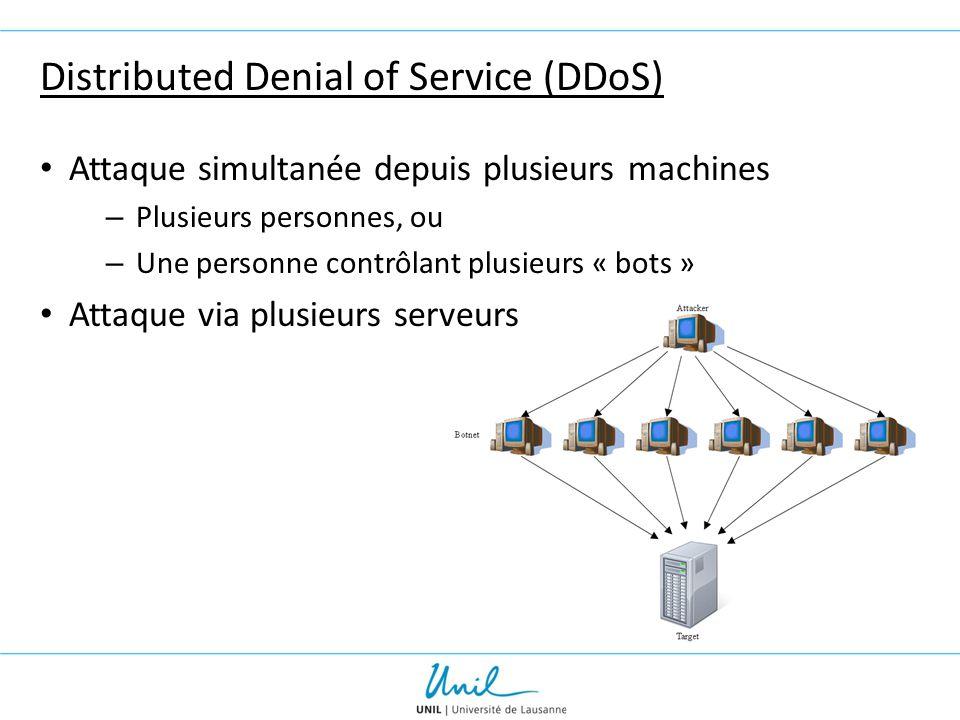 Distributed Denial of Service (DDoS) Attaque simultanée depuis plusieurs machines – Plusieurs personnes, ou – Une personne contrôlant plusieurs « bots