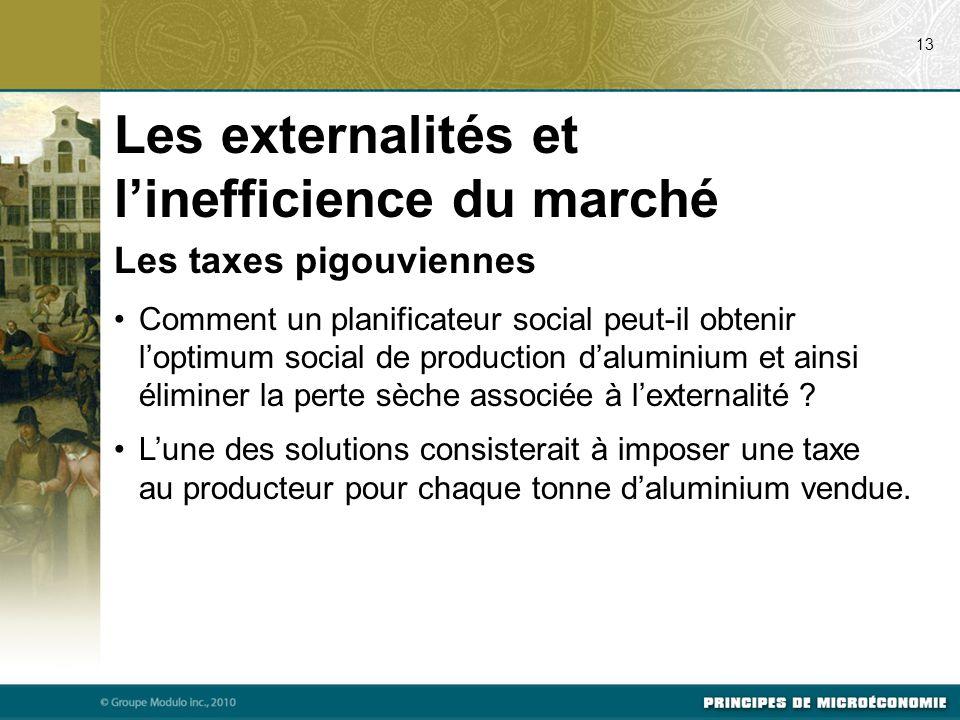 Les taxes pigouviennes Comment un planificateur social peut-il obtenir l'optimum social de production d'aluminium et ainsi éliminer la perte sèche ass