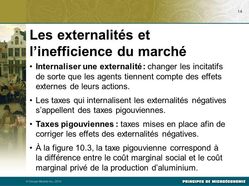 Internaliser une externalité : changer les incitatifs de sorte que les agents tiennent compte des effets externes de leurs actions. Les taxes qui inte