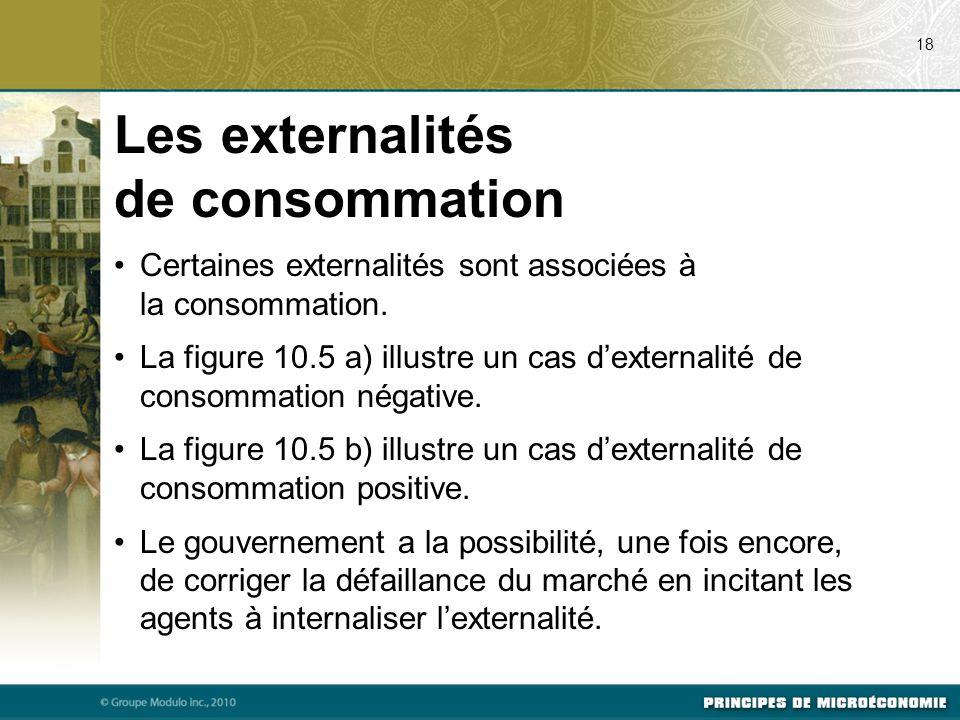 Les externalités de consommation Certaines externalités sont associées à la consommation. La figure 10.5 a) illustre un cas d'externalité de consommat