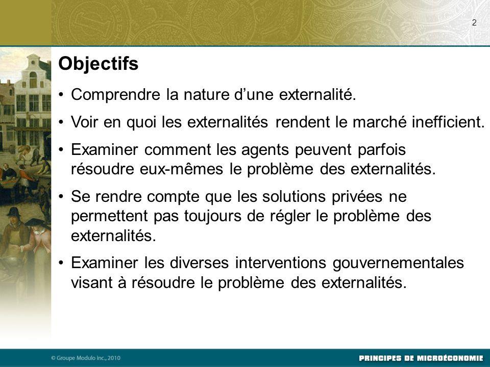 Les externalités Les défaillances du marché que nous aborderons dans ce chapitre se rangent dans la catégorie générale des externalités.