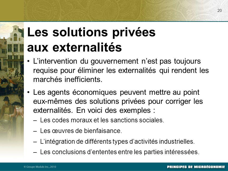 Les solutions privées aux externalités L'intervention du gouvernement n'est pas toujours requise pour éliminer les externalités qui rendent les marché