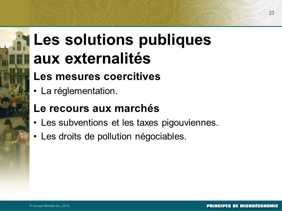 Les mesures coercitives La réglementation. Le recours aux marchés Les subventions et les taxes pigouviennes. Les droits de pollution négociables. 23 L