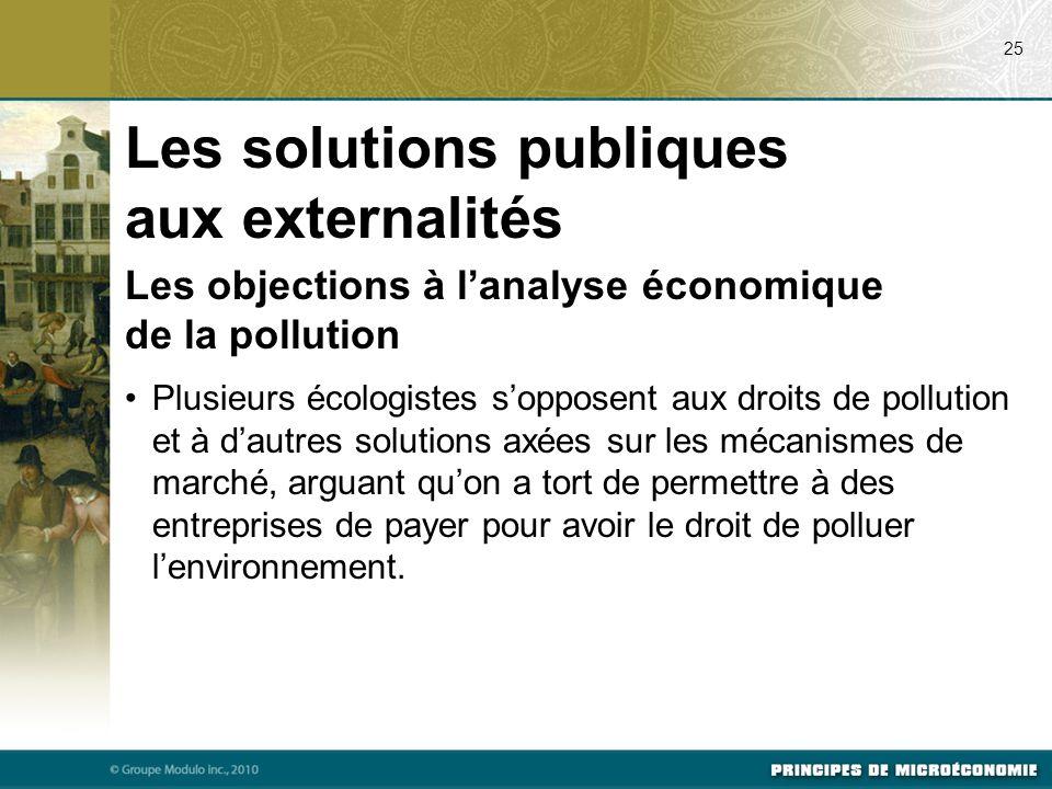 Les objections à l'analyse économique de la pollution Plusieurs écologistes s'opposent aux droits de pollution et à d'autres solutions axées sur les m