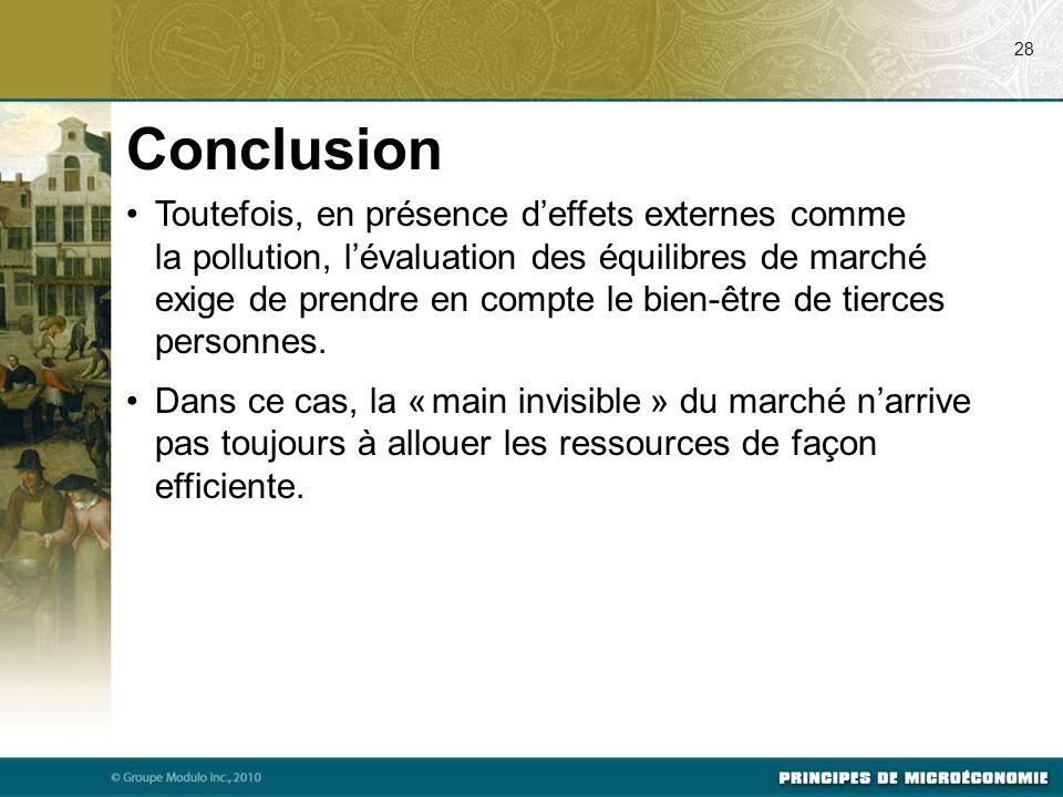Toutefois, en présence d'effets externes comme la pollution, l'évaluation des équilibres de marché exige de prendre en compte le bien-être de tierces