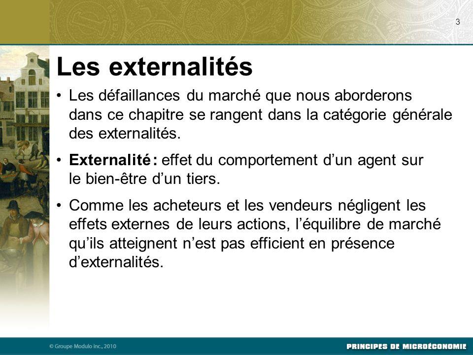Les externalités Les défaillances du marché que nous aborderons dans ce chapitre se rangent dans la catégorie générale des externalités. Externalité :