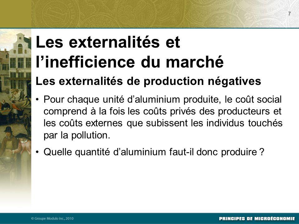 Les externalités de production négatives Pour chaque unité d'aluminium produite, le coût social comprend à la fois les coûts privés des producteurs et