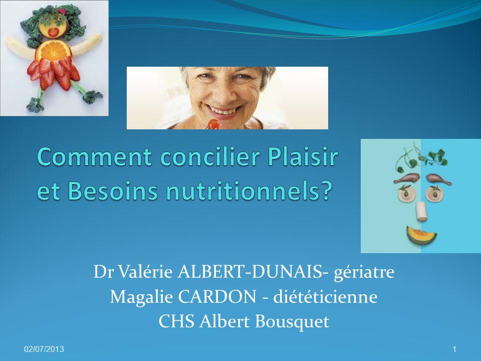 Dr Valérie ALBERT-DUNAIS- gériatre Magalie CARDON - diététicienne CHS Albert Bousquet 02/07/20131