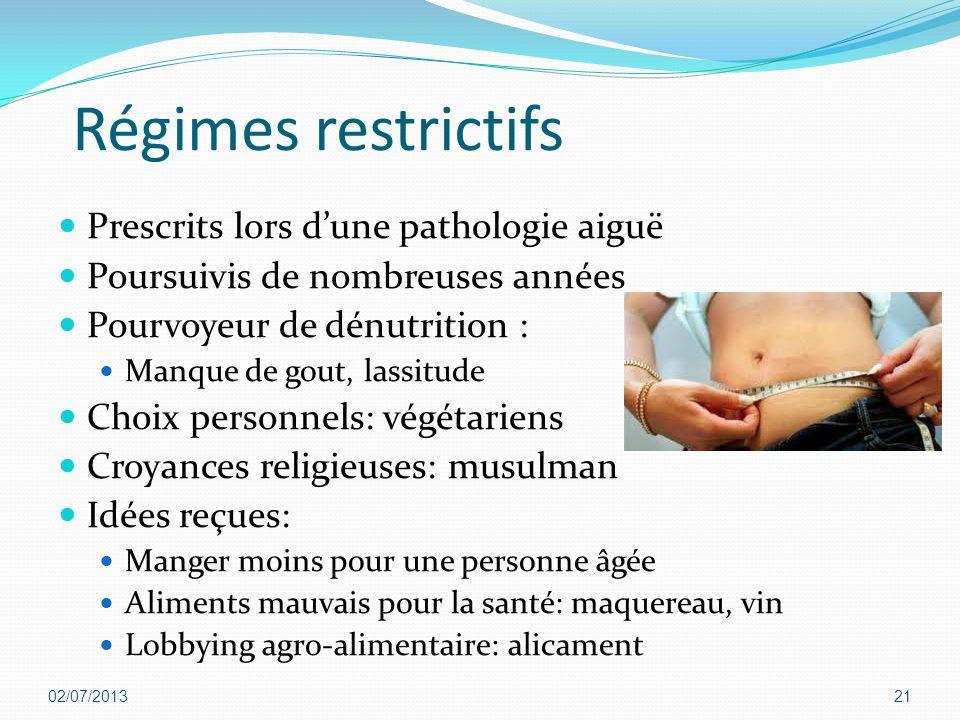 Régimes restrictifs Prescrits lors d'une pathologie aiguë Poursuivis de nombreuses années Pourvoyeur de dénutrition : Manque de gout, lassitude Choix