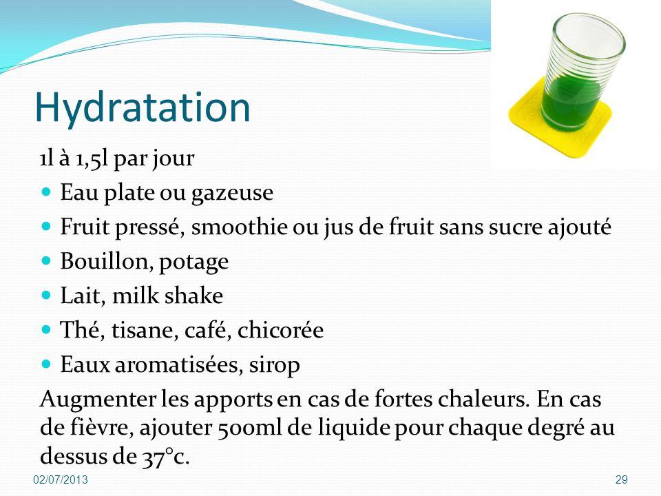 Hydratation 1l à 1,5l par jour Eau plate ou gazeuse Fruit pressé, smoothie ou jus de fruit sans sucre ajouté Bouillon, potage Lait, milk shake Thé, ti