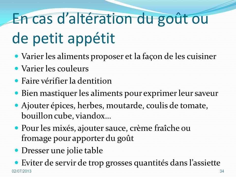En cas d'altération du goût ou de petit appétit Varier les aliments proposer et la façon de les cuisiner Varier les couleurs Faire vérifier la dentiti