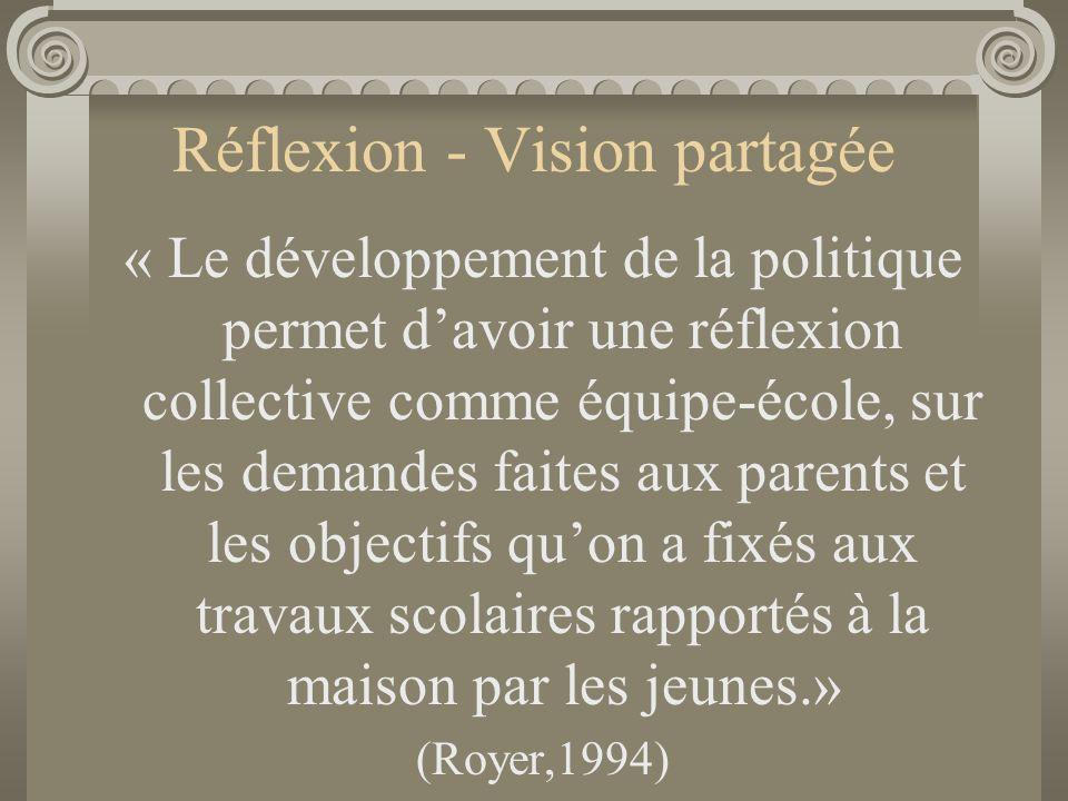 Réflexion - Vision partagée « Le développement de la politique permet d'avoir une réflexion collective comme équipe-école, sur les demandes faites aux