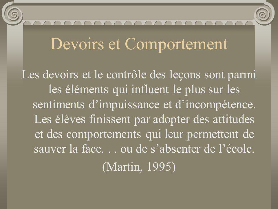 Devoirs et Comportement Les devoirs et le contrôle des leçons sont parmi les éléments qui influent le plus sur les sentiments d'impuissance et d'incom