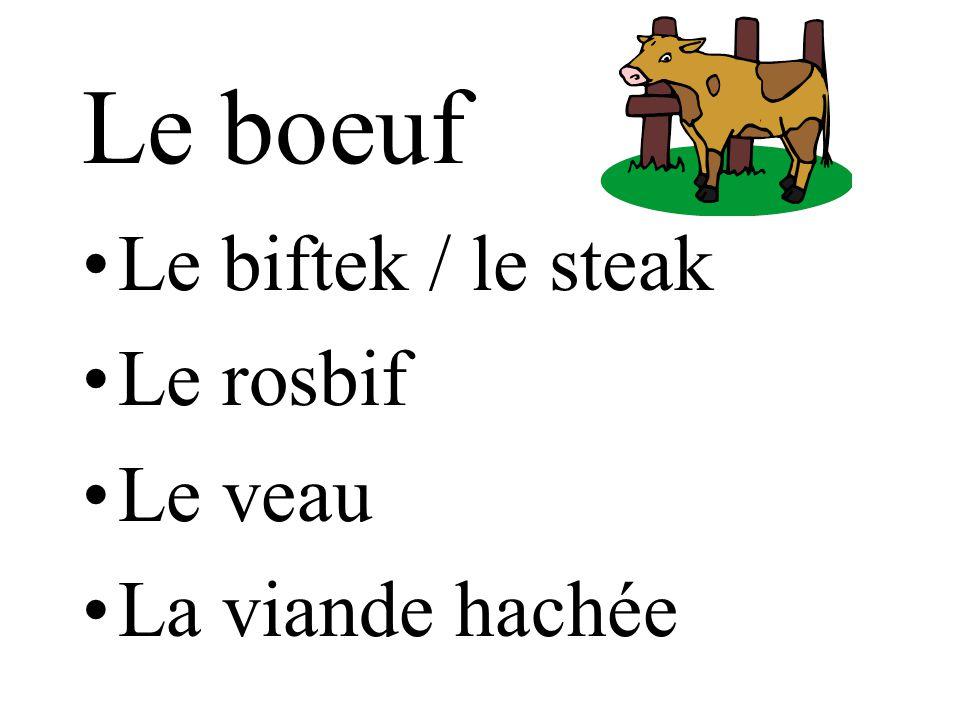 Le boeuf Le biftek / le steak Le rosbif Le veau La viande hachée