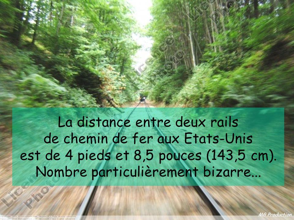 MG Production La distance entre deux rails de chemin de fer aux Etats-Unis est de 4 pieds et 8,5 pouces (143,5 cm).