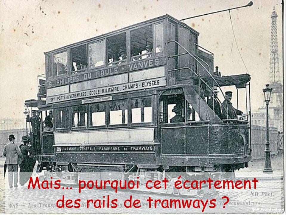 MG Production Parce que les premières lignes de chemin de fer furent construites par les mêmes ingénieurs qui construisirent les tramways, et que cet écartement était déjà utilisé.