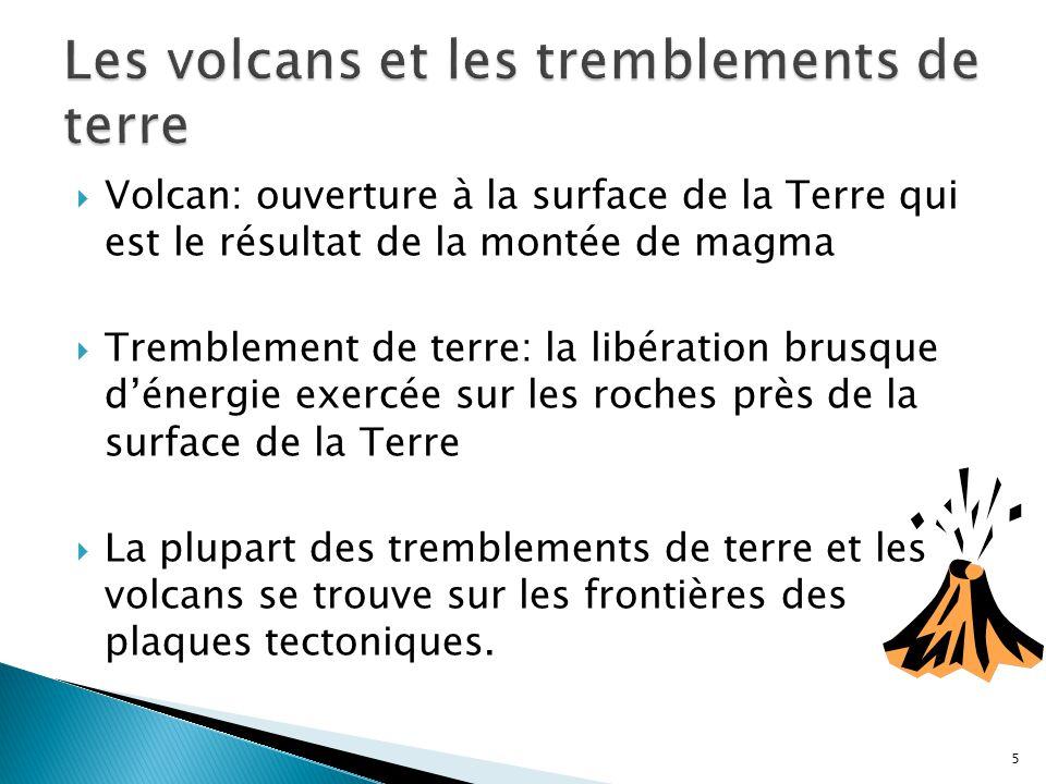  Volcan: ouverture à la surface de la Terre qui est le résultat de la montée de magma  Tremblement de terre: la libération brusque d'énergie exercée