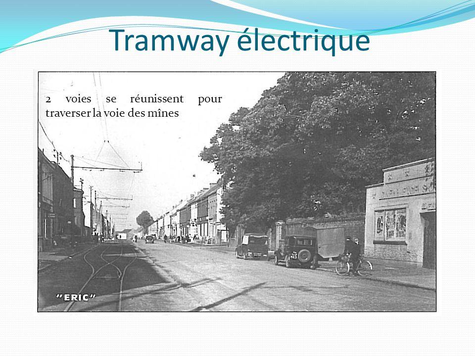 Tramway électrique 2 voies se réunissent pour traverser la voie des mînes