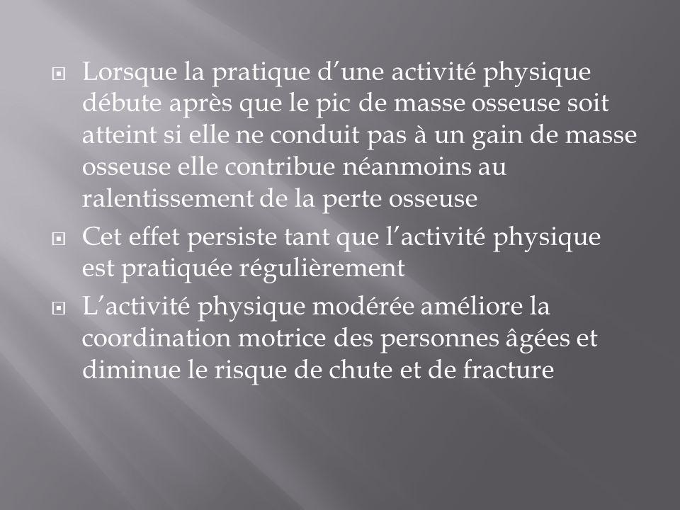  Lorsque la pratique d'une activité physique débute après que le pic de masse osseuse soit atteint si elle ne conduit pas à un gain de masse osseuse
