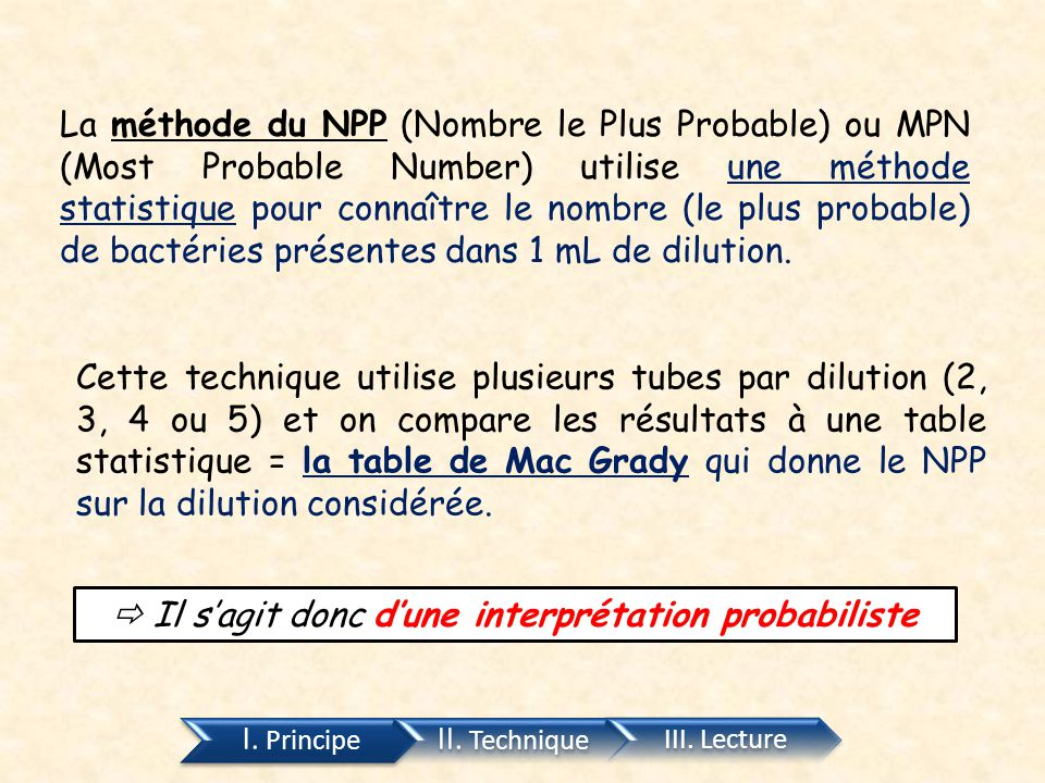 La méthode du NPP (Nombre le Plus Probable) ou MPN (Most Probable Number) utilise une méthode statistique pour connaître le nombre (le plus probable)