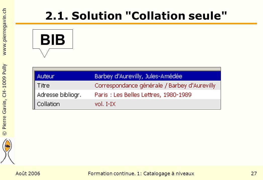 © Pierre Gavin, CH-1009 Pully www.pierregavin.ch Août 2006Formation continue. 1: Catalogage à niveaux27 2.1. Solution