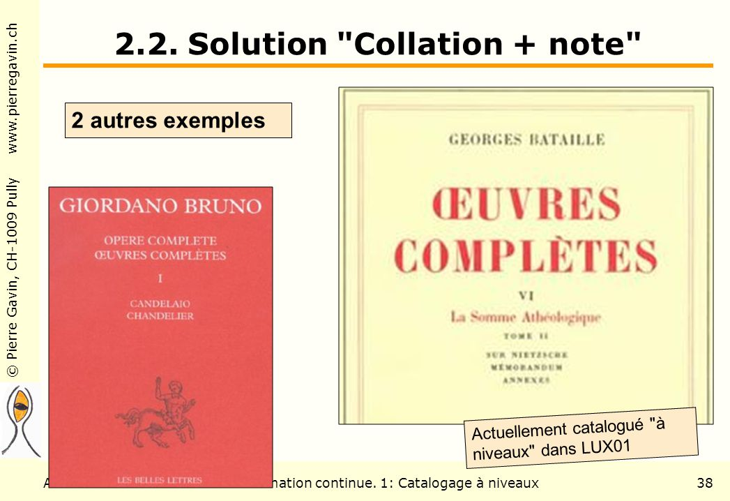 © Pierre Gavin, CH-1009 Pully www.pierregavin.ch Août 2006Formation continue. 1: Catalogage à niveaux38 2.2. Solution