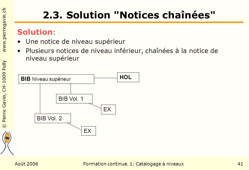 © Pierre Gavin, CH-1009 Pully www.pierregavin.ch Août 2006Formation continue. 1: Catalogage à niveaux41 2.3. Solution