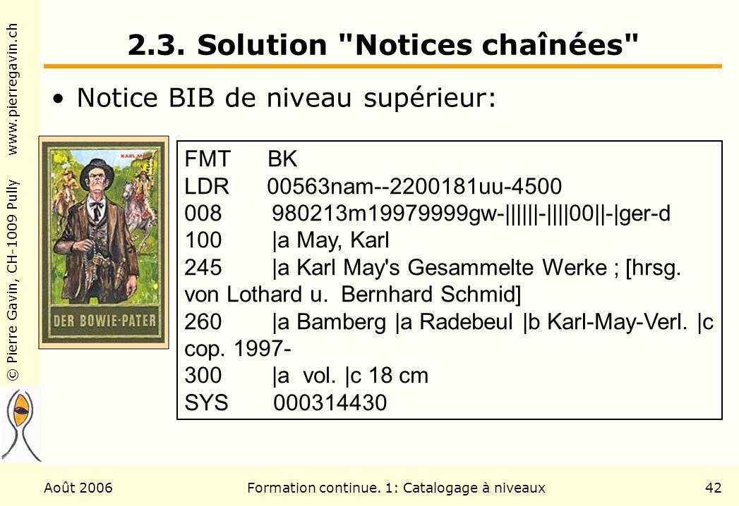 © Pierre Gavin, CH-1009 Pully www.pierregavin.ch Août 2006Formation continue. 1: Catalogage à niveaux42 2.3. Solution