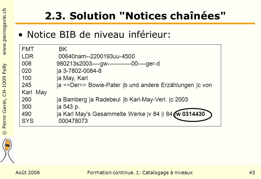 © Pierre Gavin, CH-1009 Pully www.pierregavin.ch Août 2006Formation continue. 1: Catalogage à niveaux43 2.3. Solution