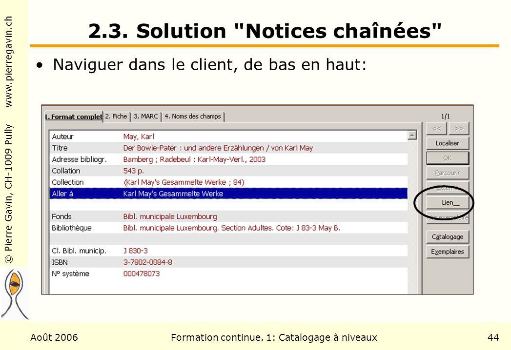 © Pierre Gavin, CH-1009 Pully www.pierregavin.ch Août 2006Formation continue. 1: Catalogage à niveaux44 2.3. Solution