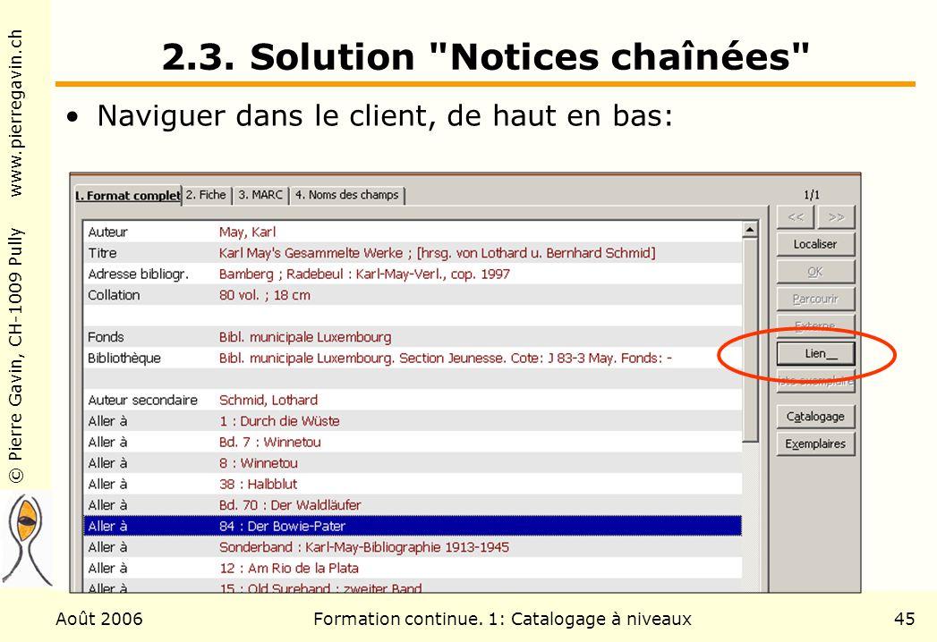 © Pierre Gavin, CH-1009 Pully www.pierregavin.ch Août 2006Formation continue. 1: Catalogage à niveaux45 2.3. Solution