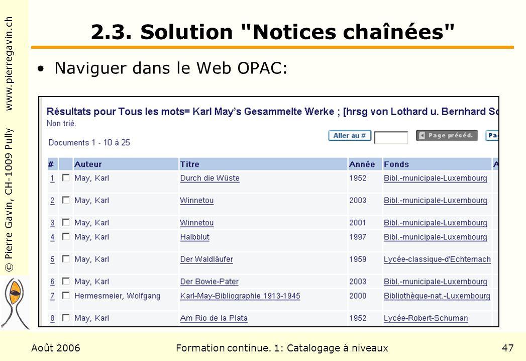 © Pierre Gavin, CH-1009 Pully www.pierregavin.ch Août 2006Formation continue. 1: Catalogage à niveaux47 2.3. Solution