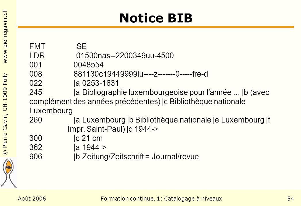 © Pierre Gavin, CH-1009 Pully www.pierregavin.ch Août 2006Formation continue. 1: Catalogage à niveaux54 Notice BIB FMT SE LDR 01530nas--2200349uu-4500