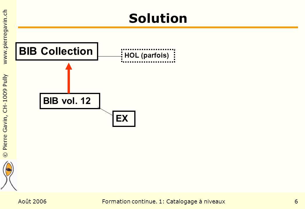 © Pierre Gavin, CH-1009 Pully www.pierregavin.ch Août 2006Formation continue. 1: Catalogage à niveaux6 Solution BIB Collection HOL (parfois) BIB vol.