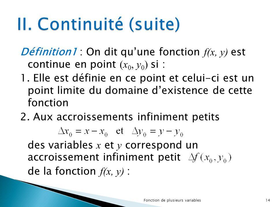 Définition1 : On dit qu'une fonction f(x, y) est continue en point (x 0, y 0 ) si : 1. Elle est définie en ce point et celui-ci est un point limite du