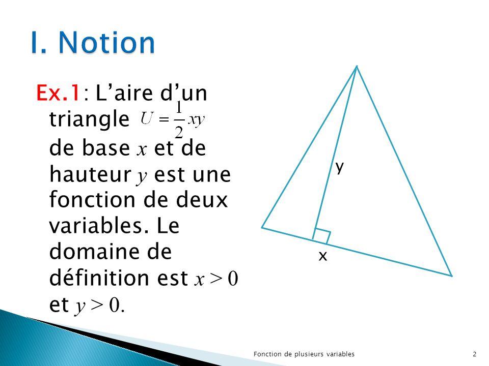 Ex.1: L'aire d'un triangle de base x et de hauteur y est une fonction de deux variables. Le domaine de définition est x > 0 et y > 0. y x 2Fonction de