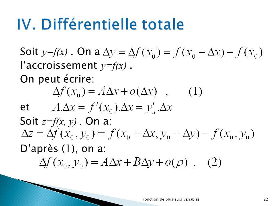 Soit y=f(x). On a l'accroissement y=f(x). On peut écrire: et Soit z=f(x, y). On a: D'après (1), on a: 22Fonction de plusieurs variables