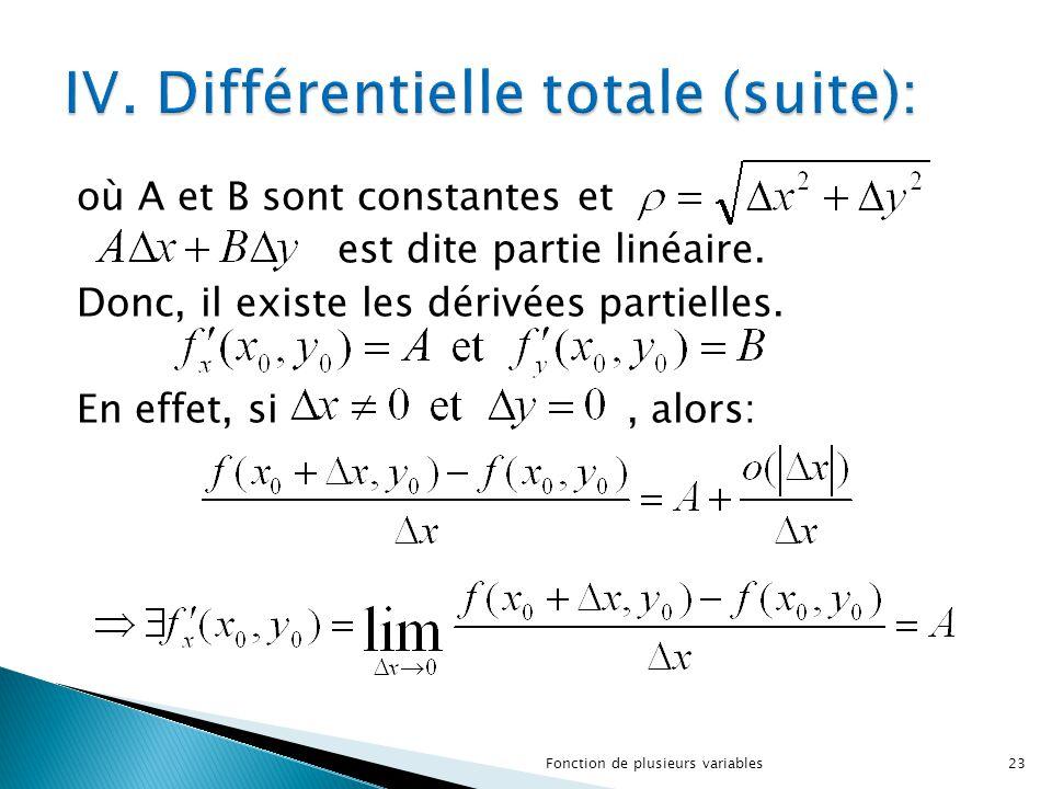 où A et B sont constantes et est dite partie linéaire. Donc, il existe les dérivées partielles. En effet, si, alors: 23Fonction de plusieurs variables