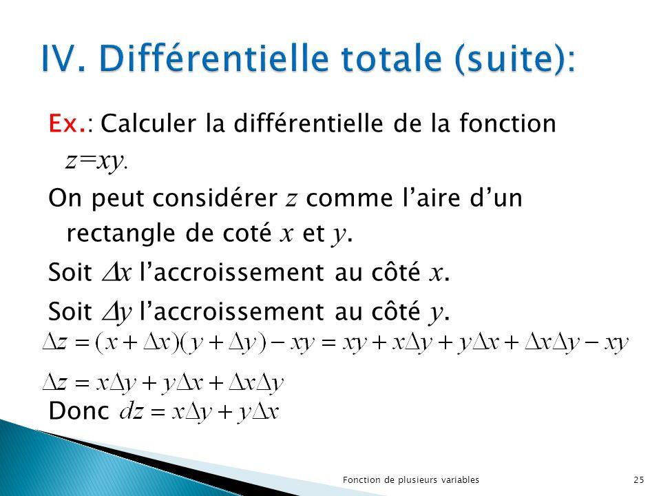 Ex.: Calculer la différentielle de la fonction z=xy. On peut considérer z comme l'aire d'un rectangle de coté x et y. Soit  x l'accroissement au côté