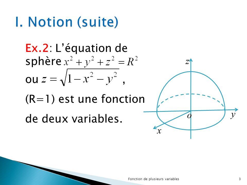 x y z o Ex.2: L'équation de sphère ou, (R=1) est une fonction de deux variables. 3Fonction de plusieurs variables