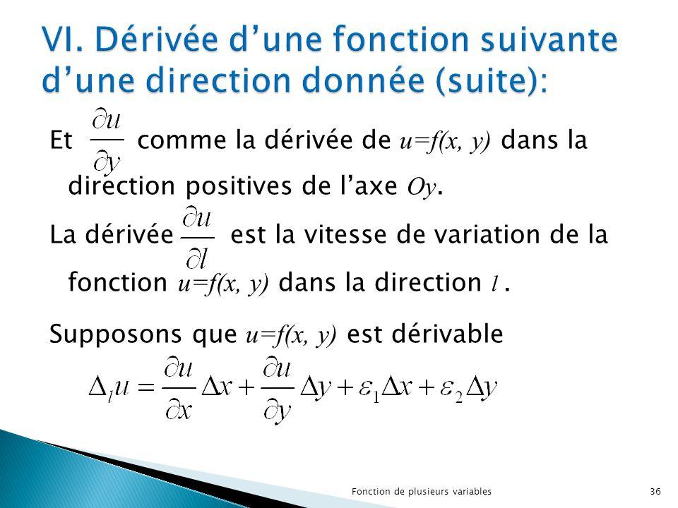 Et comme la dérivée de u=f(x, y) dans la direction positives de l'axe Oy. La dérivée est la vitesse de variation de la fonction u=f(x, y) dans la dire