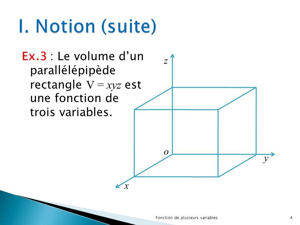 Ex.3 : Le volume d'un parallélépipède rectangle V = xyz est une fonction de trois variables. o z y x 4Fonction de plusieurs variables