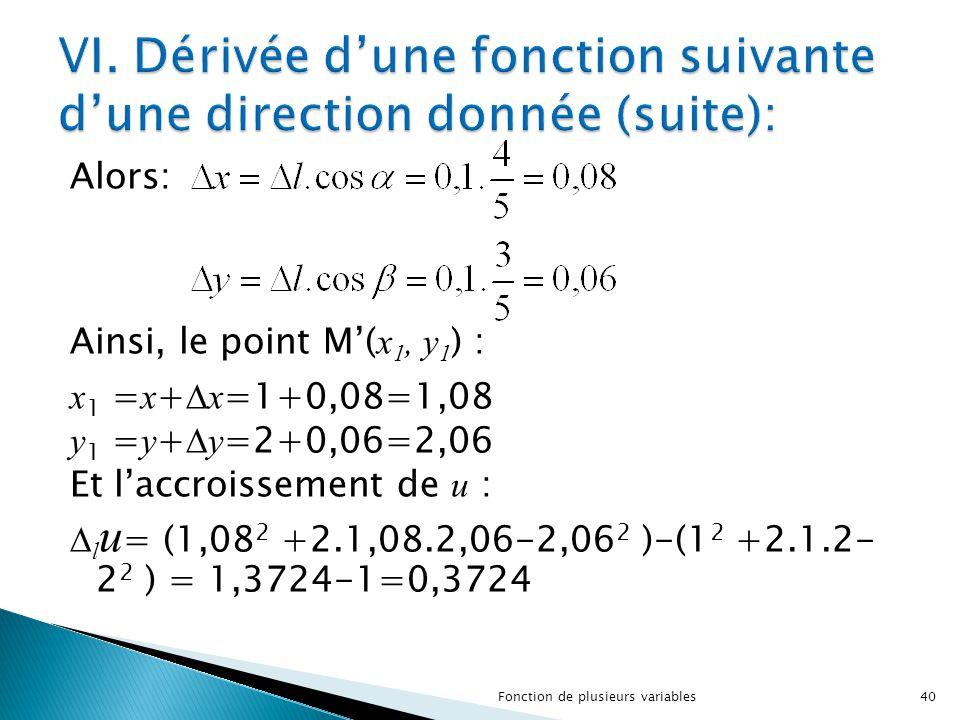 Alors: Ainsi, le point M'( x 1, y 1 ) : x 1 = x +  x =1+0,08=1,08 y 1 = y +  y =2+0,06=2,06 Et l'accroissement de u :  l u = (1,08 2 +2.1,08.2,06-2