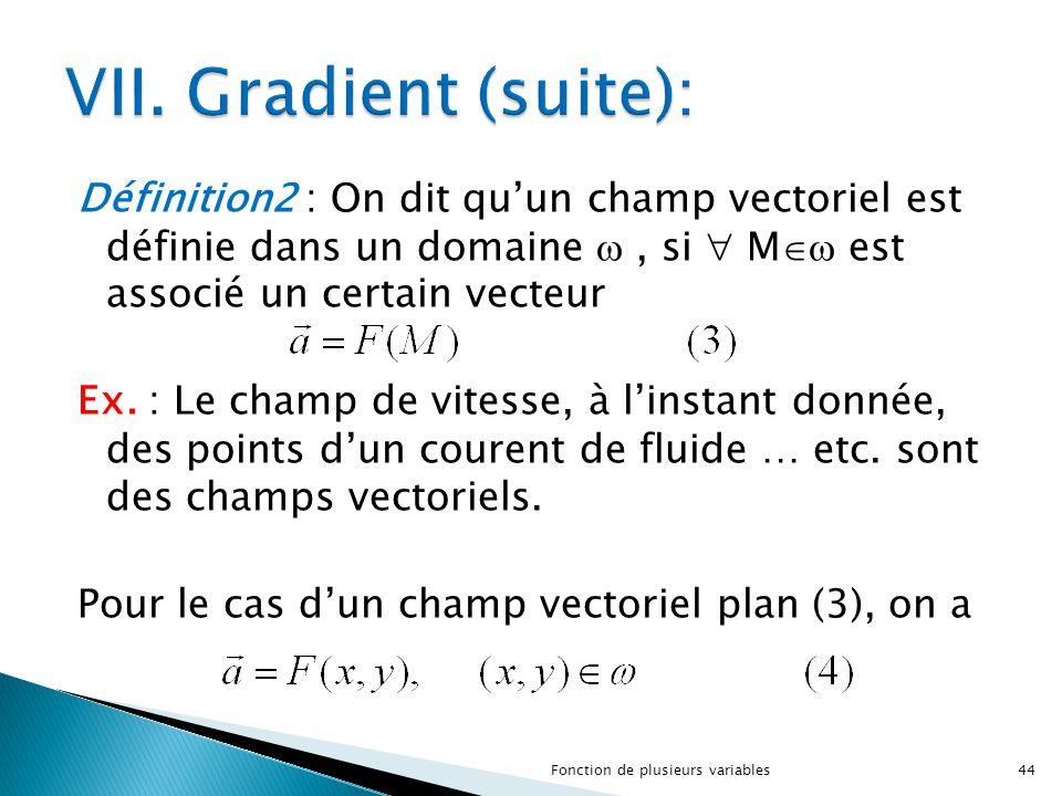 Définition2 : On dit qu'un champ vectoriel est définie dans un domaine , si  M  est associé un certain vecteur Ex. : Le champ de vitesse, à l'inst