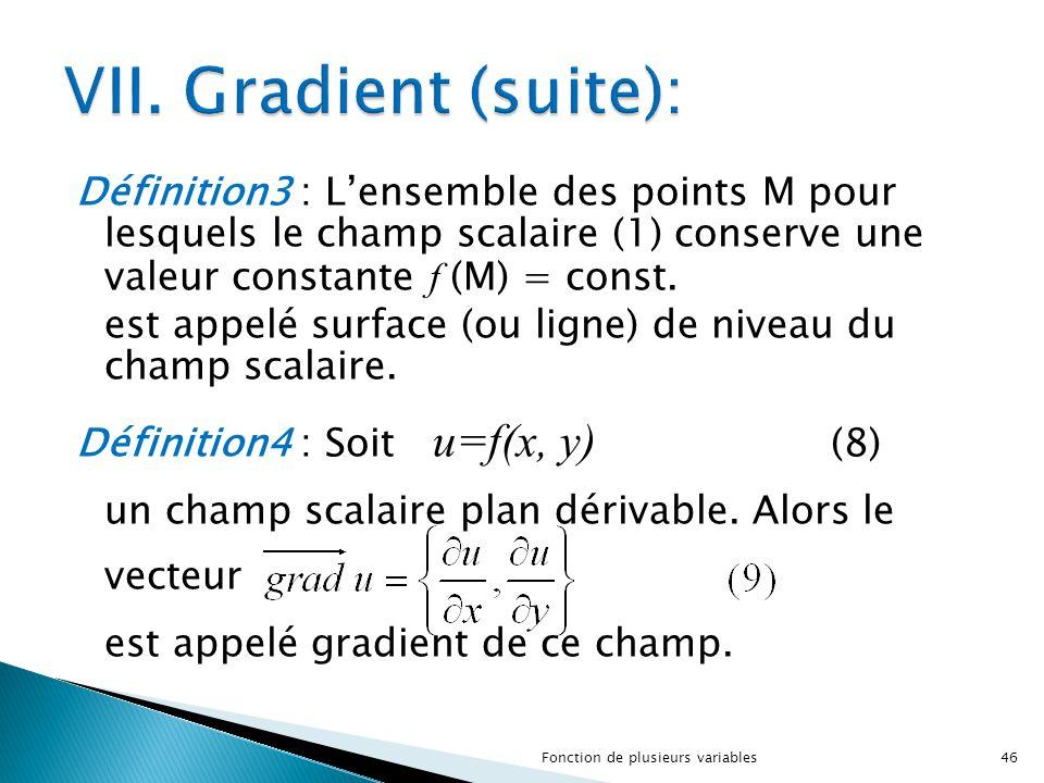 Définition3 : L'ensemble des points M pour lesquels le champ scalaire (1) conserve une valeur constante f (M) = const. est appelé surface (ou ligne) d