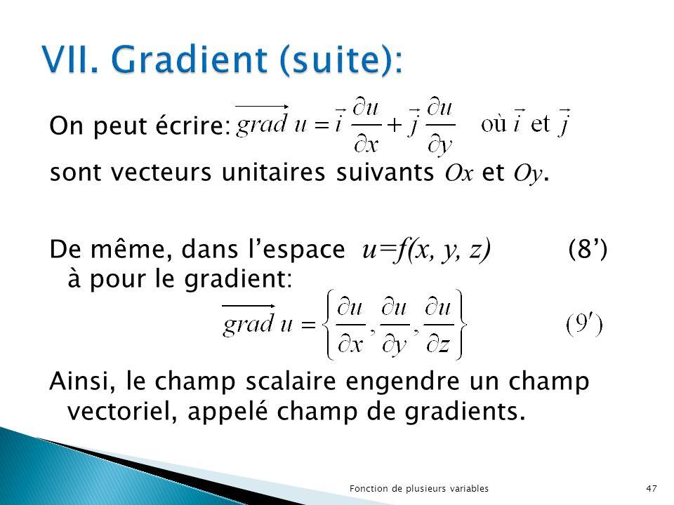 On peut écrire: sont vecteurs unitaires suivants Ox et Oy. De même, dans l'espace u=f(x, y, z) (8') à pour le gradient: Ainsi, le champ scalaire engen