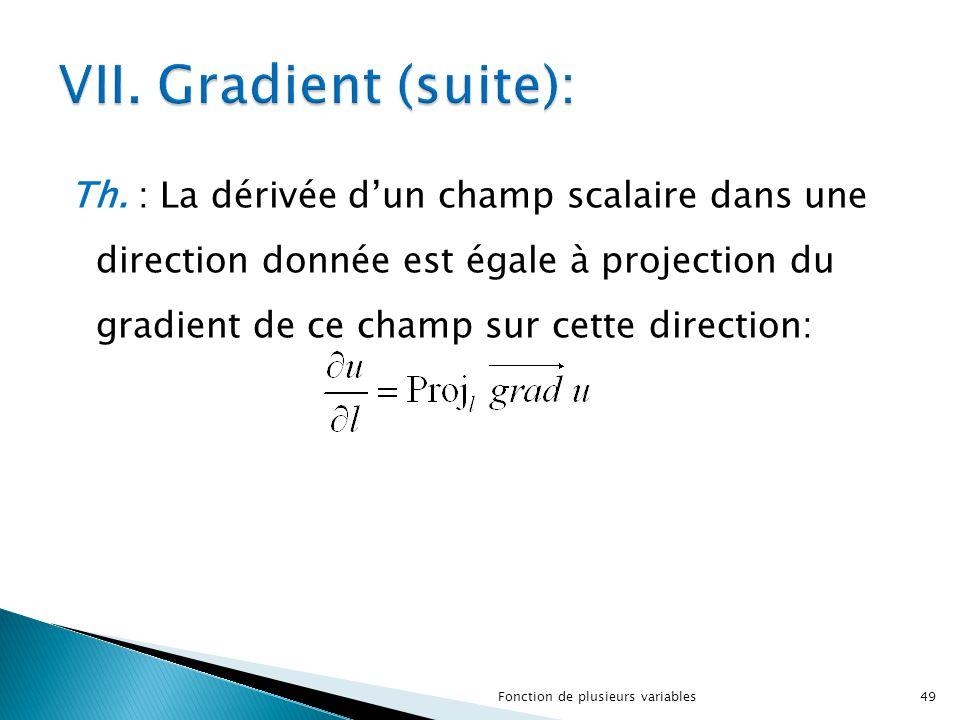 Th. : La dérivée d'un champ scalaire dans une direction donnée est égale à projection du gradient de ce champ sur cette direction: 49Fonction de plusi