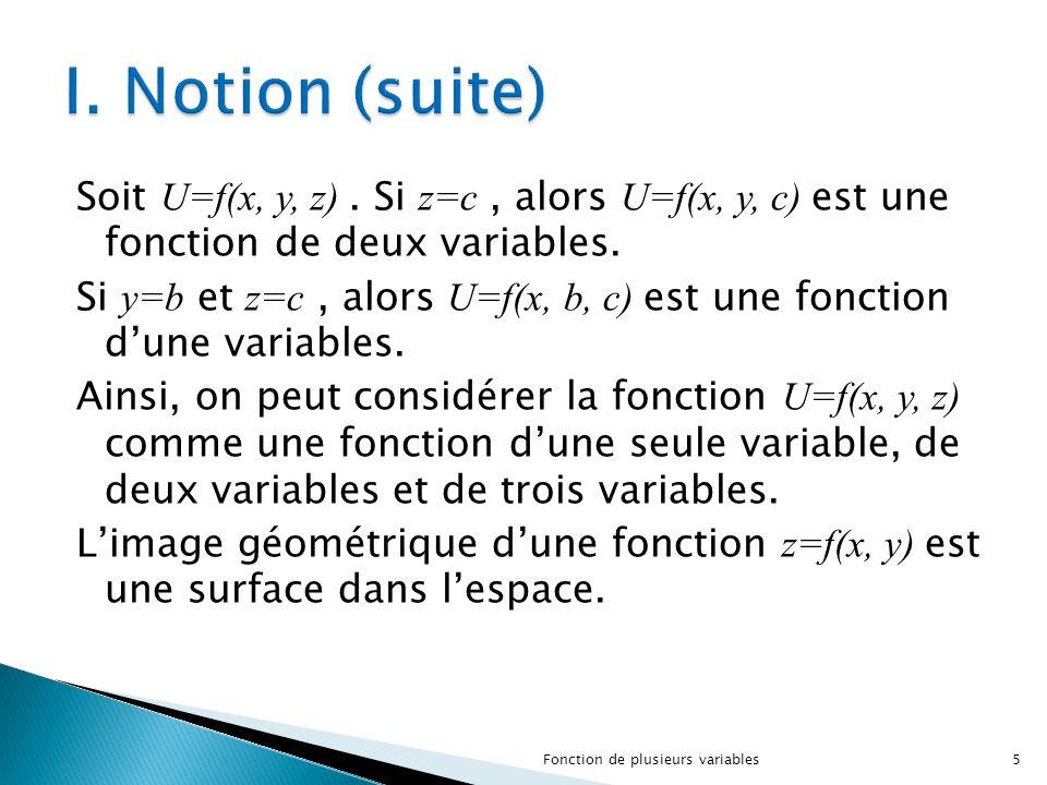 Soit U=f(x, y, z). Si z=c, alors U=f(x, y, c) est une fonction de deux variables. Si y=b et z=c, alors U=f(x, b, c) est une fonction d'une variables.