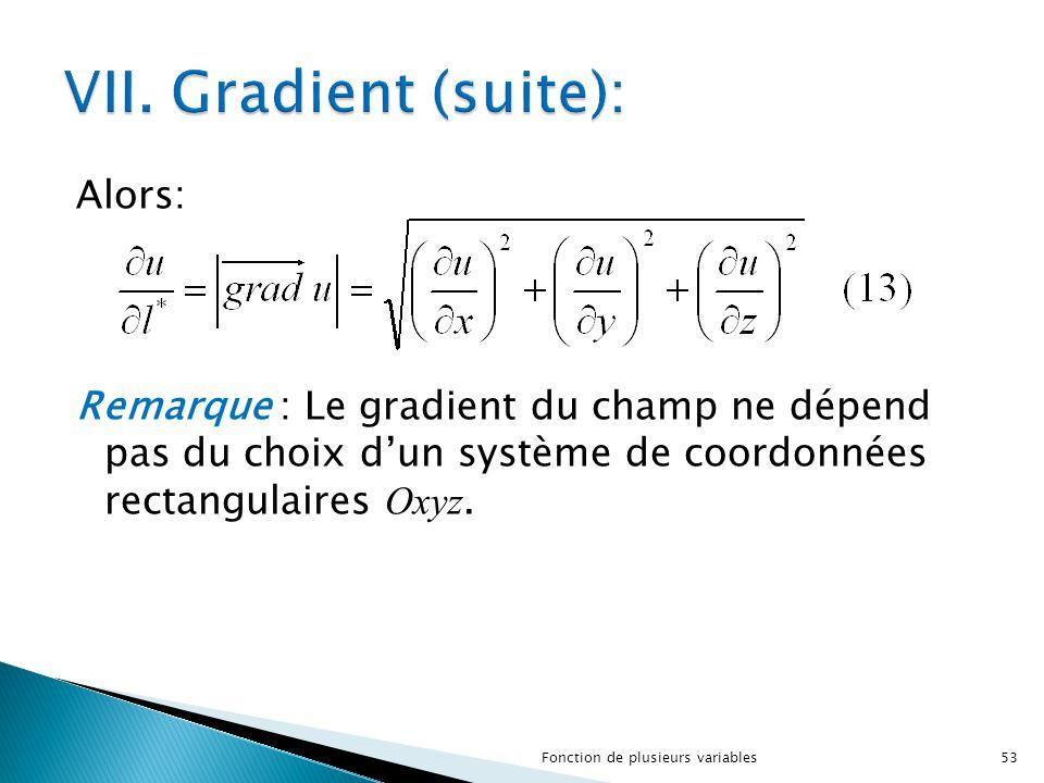 Alors: Remarque : Le gradient du champ ne dépend pas du choix d'un système de coordonnées rectangulaires Oxyz. 53Fonction de plusieurs variables