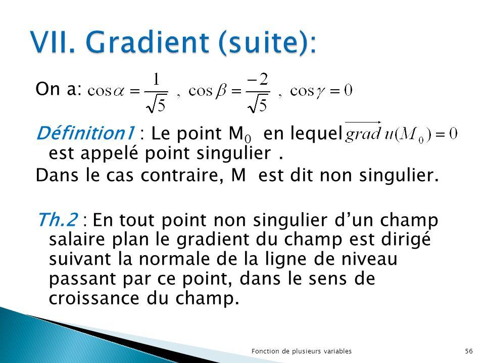 On a: Définition1 : Le point M 0 en lequel est appelé point singulier. Dans le cas contraire, M est dit non singulier. Th.2 : En tout point non singul